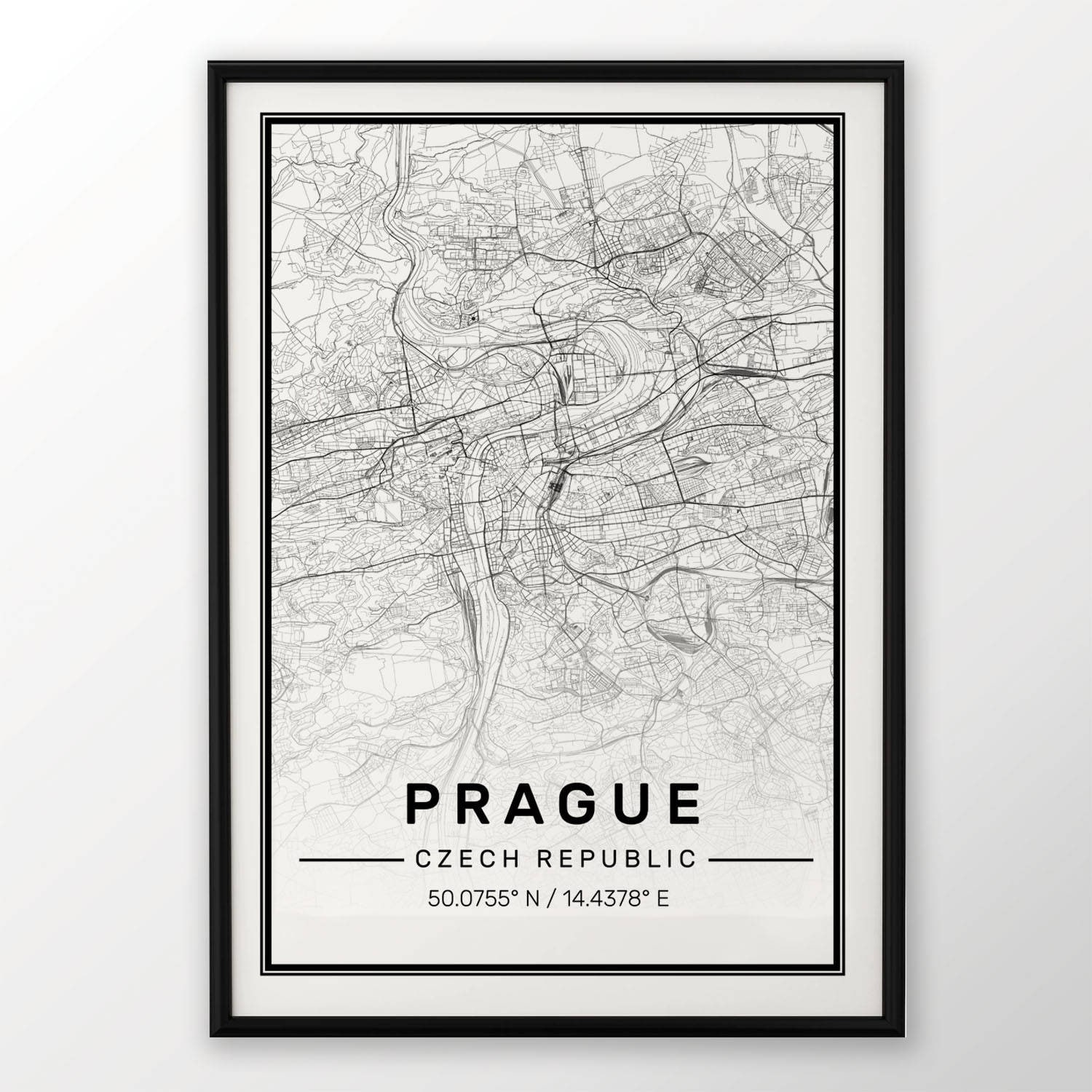Prague City Map Print Modern Contemporary Poster In Sizes