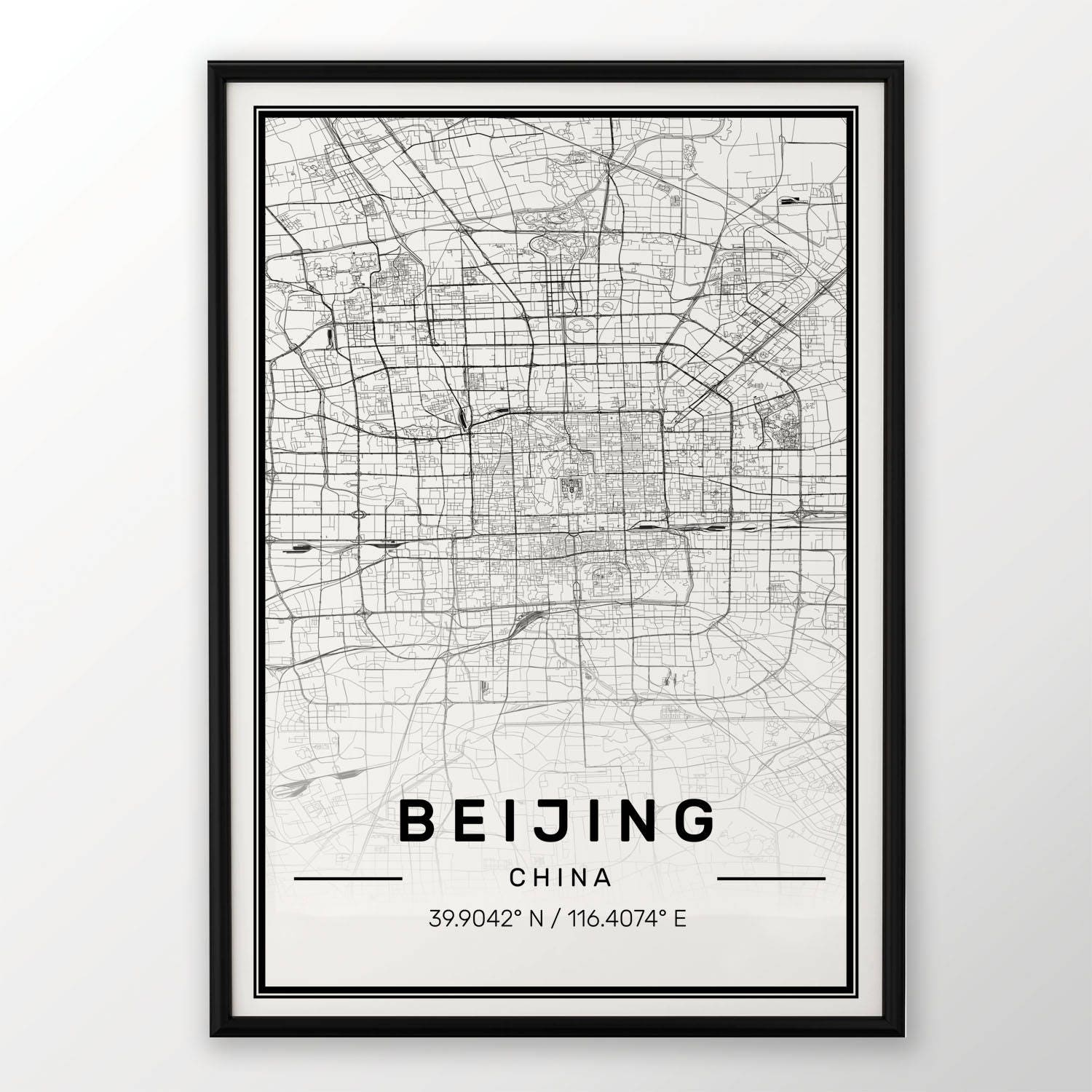 Beijing City Map Print Modern Contemporary Poster In Sizes