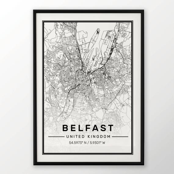 Belfast City Map Print Modern Contemporary Poster In Sizes