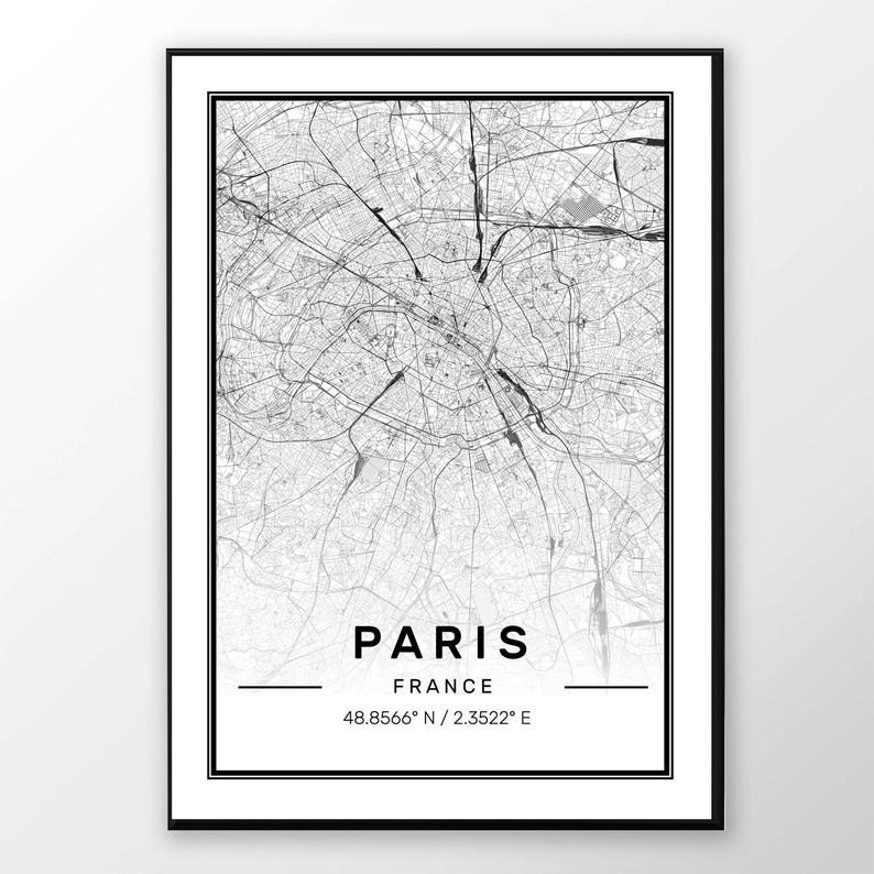 Paris City Map Print Modern Contemporary Poster In Sizes Etsy