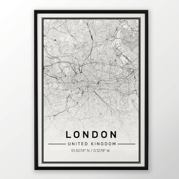 London City Map Print Modern Contemporary poster in sizes | Etsy