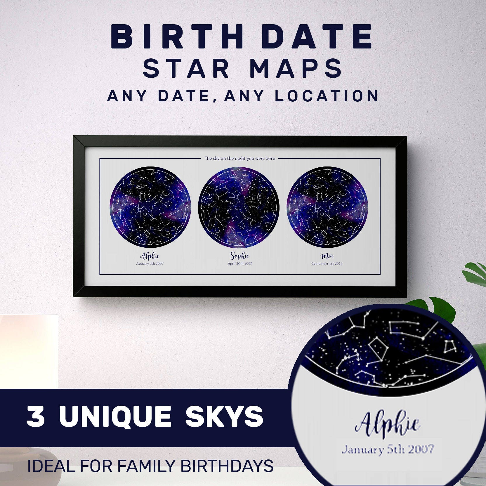 Personalized Map Of The Stars 3 Map Star Chart Print For Ikea Etsy