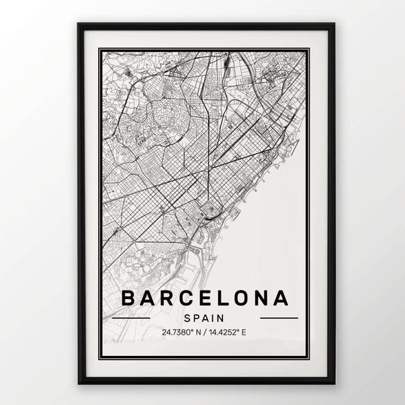 BARCELONA CITY MAP POSTER PRINT MODERN CONTEMPORARY CITIES TRAVEL IKEA FRAMES