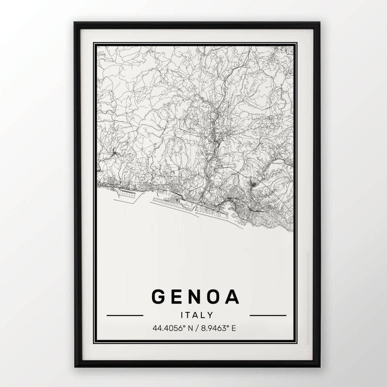 Genoa City Map Print Modern Contemporary Poster In Sizes