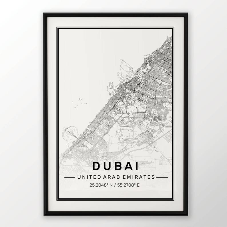 New York Paris Dubai City Map Print Modern Contemporary poster in sizes 50x70 fit for Ikea frame 19.5 x 27.5 All city available London