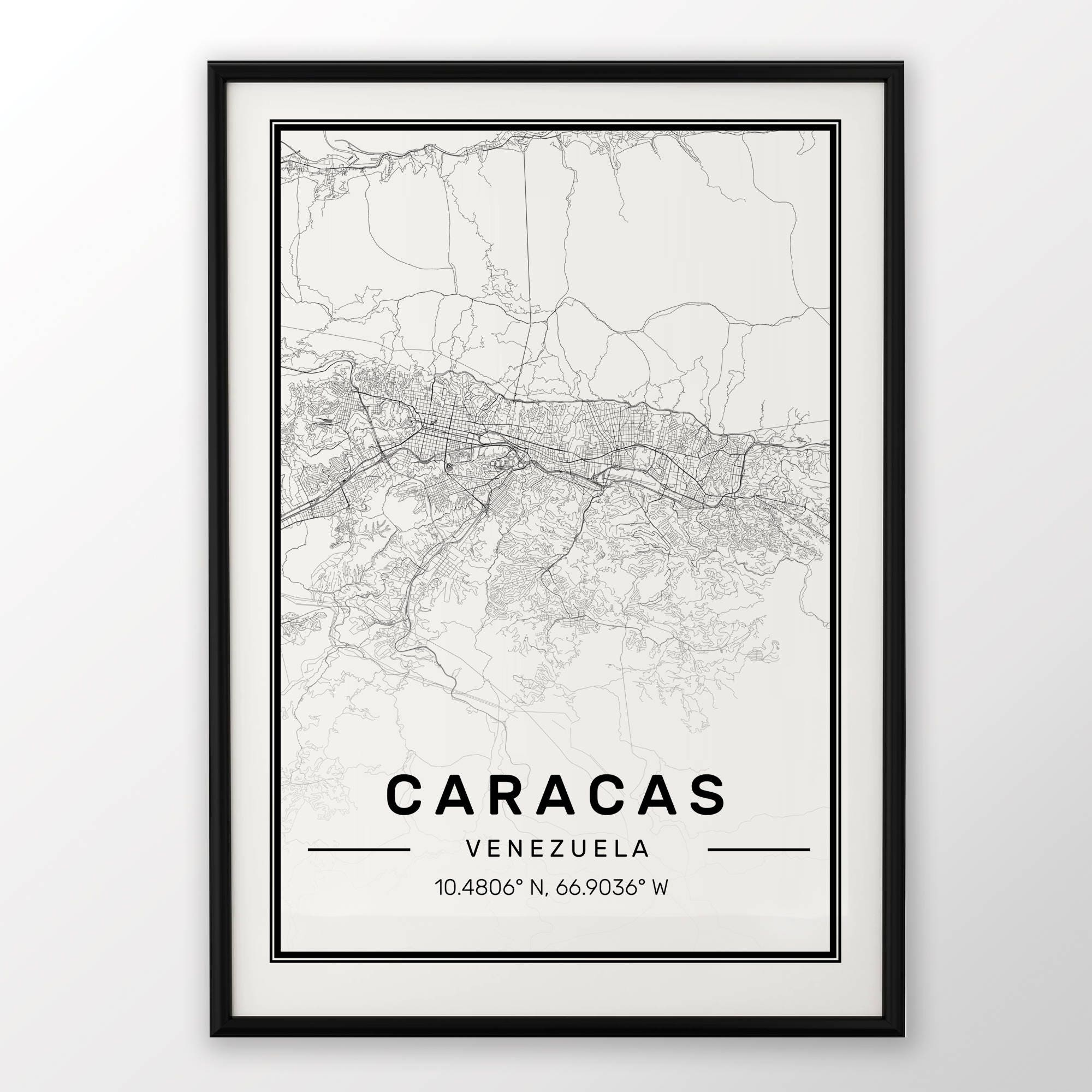Caracas City Map Print Modern Contemporary poster in sizes | Etsy