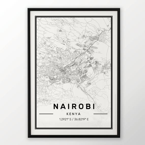 NAIROBI CITY MAP POSTER PRINT MODERN CONTEMPORARY CITIES TRAVEL IKEA FRAMES