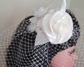 Ivory Fascinator Birdcage Veil with Pearl Center Rose for Bridal