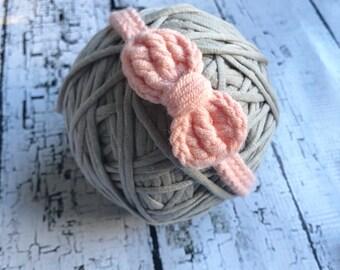 Crochet baby headbands 0-3 months, 3-6 months, cotton blend, peach, green, blue, white.