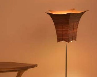 Floor lamp with wood veneer shade - Beloeilloise # 21