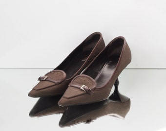 04962696838a Vintage   Pre-loved authentic prada kitten heels   prada canvas   made in  Italy   pointed toe low heel   size EU 36