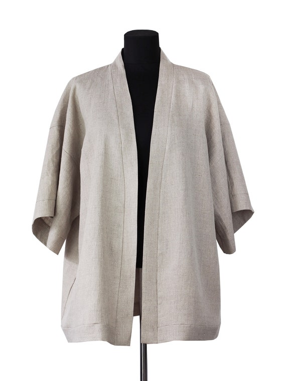 kimono made in Onesize Denmark from beige Upcycled kimono short belted oversized Made linen jacket linen minimalist Handmade 660qwgx7A