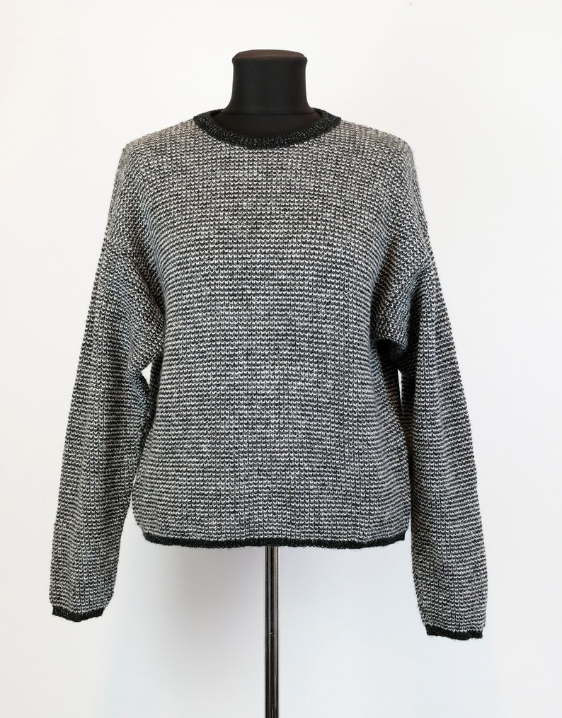 Vintage  Oversized black and silver glitter sweater  metallic sweater  knitted jumper  made in italy  pullover  size large