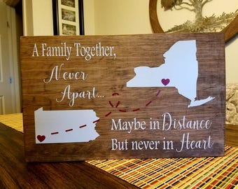 A Family Together Never Apart Maybe In Distance But Never In Heart Wood Sign