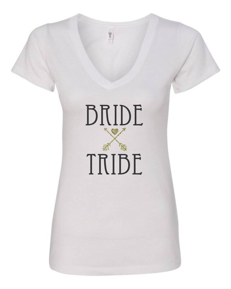 17e9e5143 Bridesmaid T-shirt Bride Tribe Gold Glitter Arrows with Heart | Etsy