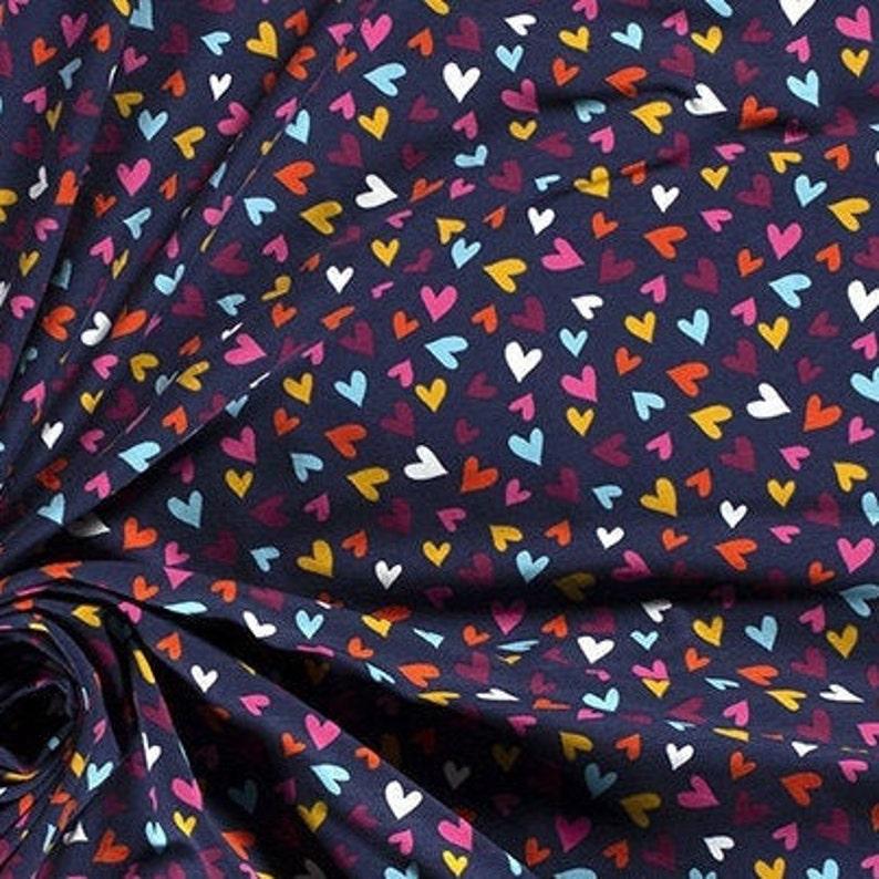 Mini Hearts Colourful Navy Kids Novelty Cotton Jersey Dress Dresses Stretch Fabric Soft /& Luxurious 150cm Half a Metre 60