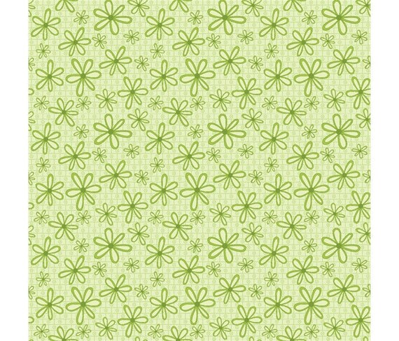 Half Metre Quilting Fabric ~ Red Rooster Dressmaking Collection ~ Floral Green