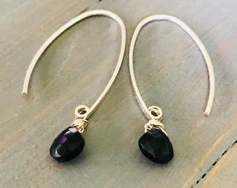 Onyx Karen Hill Tribe Silver Earrings