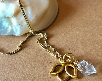 Herkimer Diamond Lotus Gold Satellite Chain Necklace