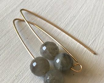 Labradorite gold drop earrings