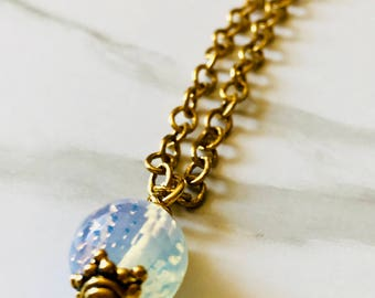 Opalite and gold plated brass necklace