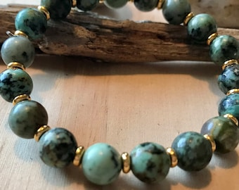 African Turquoise Gold Bead Mala Bracelet