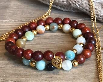 Amazonite and Sandalwood Wrap Bracelet   Yoga Bracelet   Meditation Bracelet
