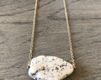 Howlite Slab Minimalist Necklace