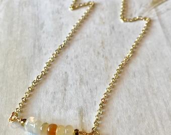 Ethiopian Fire Opal Bar Necklace