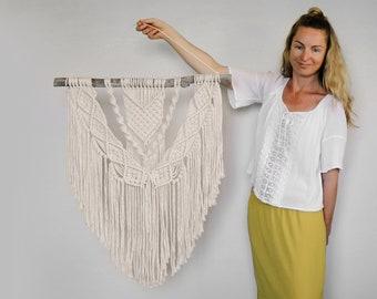 macrame wall hanging white boho decor medium bohemian fibre art modern coastal home natural southwestern style minimalist tapestry destiny