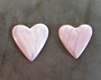 Pink porcelain heart ornament