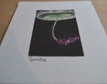 Miniature Painting #3 Orchid Hanging from the Moon