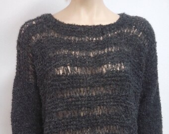 Knitted Alpaca wool sweater, one size, oversized