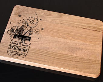 Personalized Cutting Board, Mason Jar Cutting Board, Wedding gift for couple, Custom Engraved Cutting Board, Custom Wedding Gift Cutting