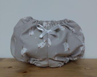 Braguitas cubre-pañal de piqué con estampado de gatitos, forro interior blanco, hecha a mano
