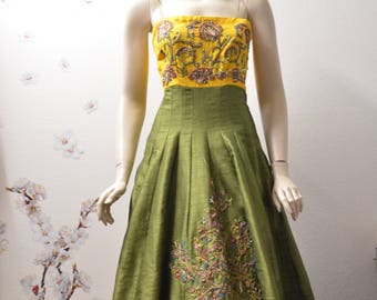 Green and yellow raw silk party dress long dress holiday dress prom dress