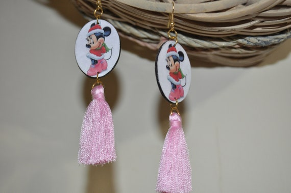 Disney Minnie Mouse earrings-Minnie mouse Christmas earrings-paper earrings-tassel earrings-handmade earrings