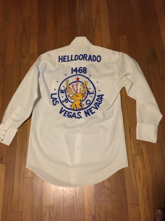 1970s embroidered elks club western snap shirt