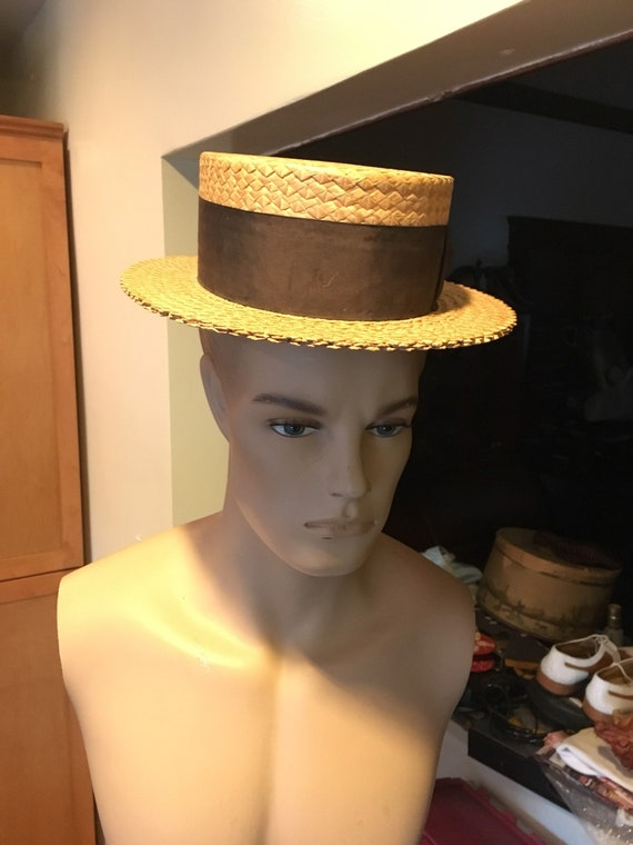 1920s Boater straw hat sz 7 1/8. Overall Good cond