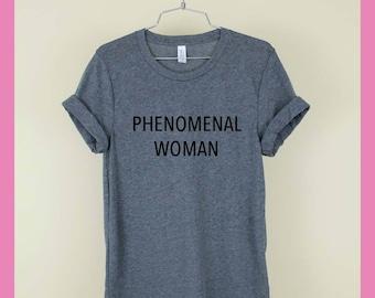 071384c73 PHENOMENAL WOMAN Shirt Unisex Tee Womens Mens Short Sleeve Crew Neck Soft  Cotton T Shirts With Sayings Funny Cute White Black Grey
