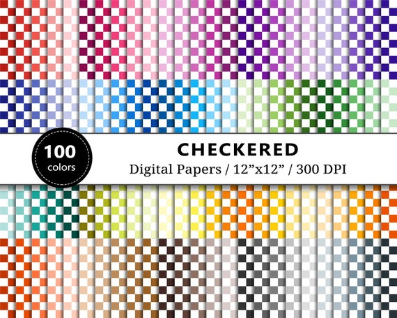 Checkered Digital Papers Pack Checkerboard Printable Paper Etsy