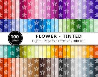 Tinted Flower Digital Paper, 100 Rainbow Floral Pattern, Spring Scrapbook Paper, Blooming Flowers Background, Scrapbooking, Instant Download
