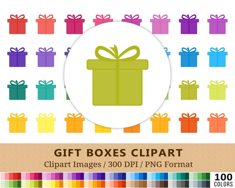 100 Gift Pack Clipart Birthday Presents Rainbow Colors Vector Eps Png Files Planner Stickers Icons Digital Christmas Scrapbooking
