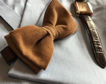 Tan Corduroy Bow Tie