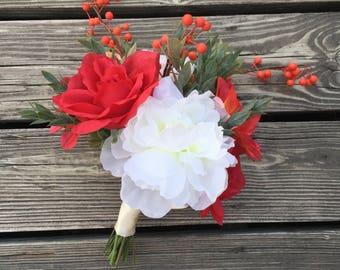 Bridal bouquet, wedding bouquet, silk flowers, rose bouquet