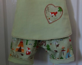Handmade Crossover Pinafore Top and Reversible Shorts Outfit