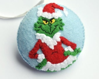 christmas ornament grinch felt christmas ornaments christmas decoration grinch ornament
