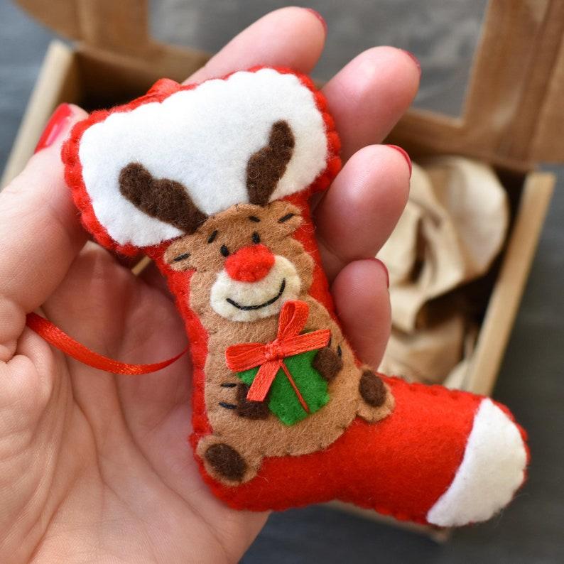 Christmas tree decoration christmas ornament Christmas sock Felt christmas decorations Reindeer Christmas reindeer Felt Christmas sock