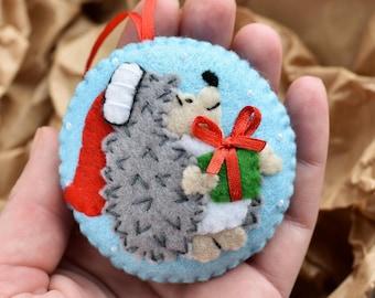 Christmas felt ornament, Christmas hedgehog, hedgehog gift, felt hedgehog, hedgehog ornament, Christmas decorations, Christmas tree decor