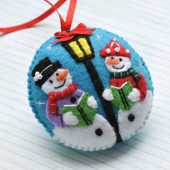 new product dfb59 71a83 Christmas decorations, Felt Snowman ornament, Snowman decor, Christmas felt  ornament, Christmas tree decor, Felt Christmas ornament